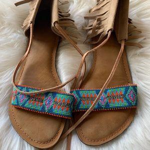 Z&L Europe Leather Fringe Beaded Sandals
